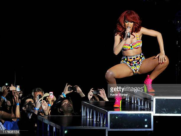 Singer Rihanna performs at the Staples Center on June 28 2011 in Los Angeles California