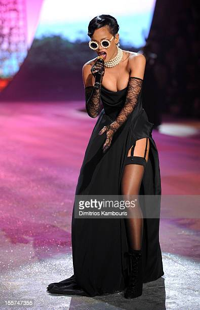Singer Rihanna performs during the 2012 Victoria's Secret Fashion Show at the Lexington Avenue Armory on November 7 2012 in New York City