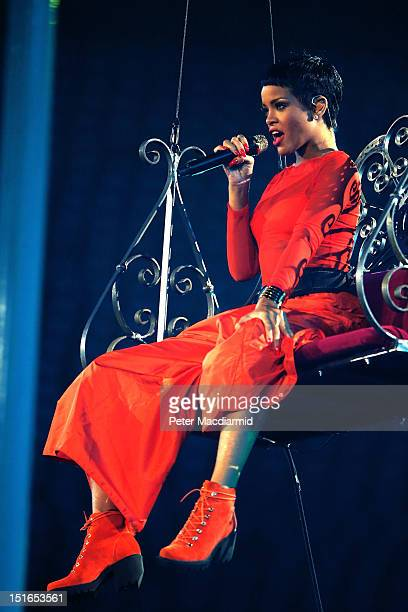 Singer Rihanna performs during the closing ceremony on day 11 of the London 2012 Paralympic Games at Olympic Stadium on September 9 2012 in London...