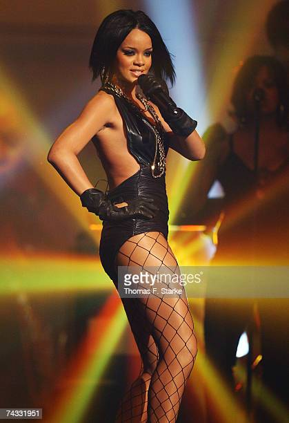 Singer Rihanna performs during The Dome 42 music show at the TUI Arena May 25 2007 in Hanover Germany
