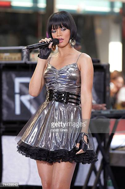 Singer Rihanna performs during the NBC 'Today Show' concert series June 8 2007 in New York City