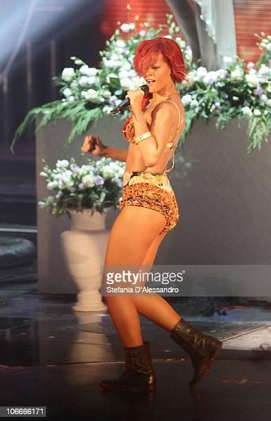 Singer Rihanna performs during X Factor Italian TV Show held at Rai Studios on November 9 2010 in Milan Italy