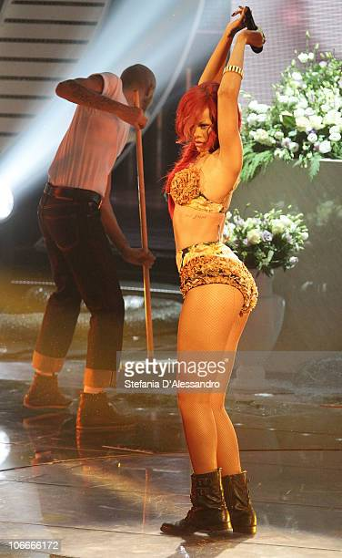 Singer Rihanna performs during 'X Factor' Italian TV Show held at Rai Studios on November 9 2010 in Milan Italy