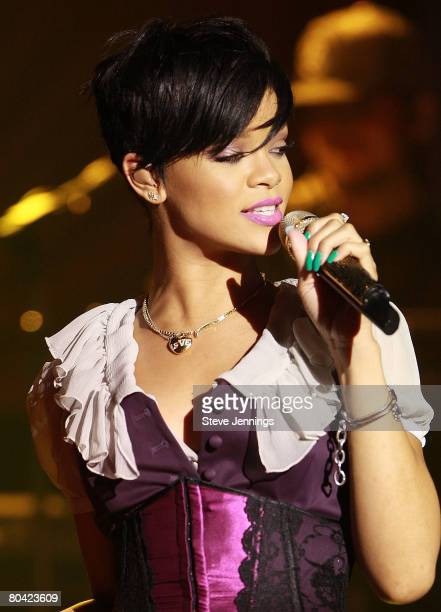 Singer Rihanna performs live for her 'Believe' Charity at Ruby Skye on March 28 2008 in San Francisco California
