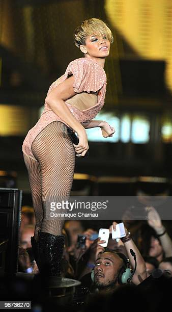Singer Rihanna performs on stage at Palais Omnisports de Bercy on April 28 2010 in Paris France