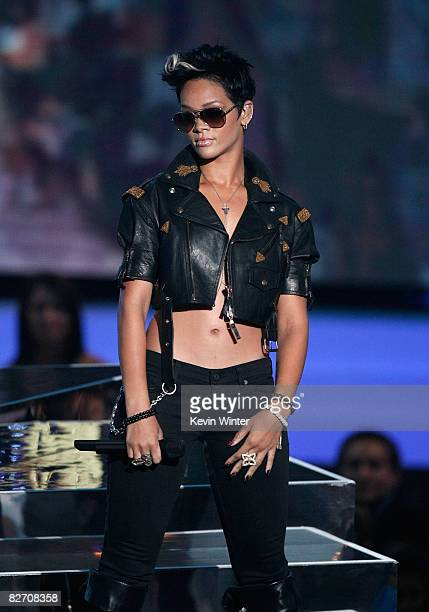 Singer Rihanna performs on stage at the 2008 MTV Video Music Awards at Paramount Pictures Studios on September 7 2008 in Los Angeles California