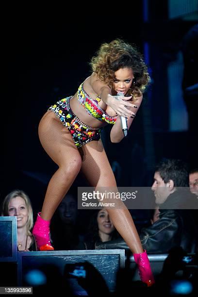 Singer Rihanna performs on stage at the Palacio de los Deportes stadium on December 15 2011 in Madrid Spain