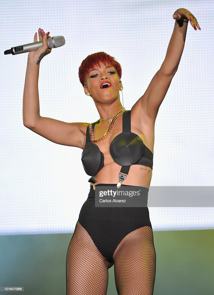Singer Rihanna performs on stage during Rock in Rio Madrid Festival on June 5, 2010 in Arganda del Rey, Spain.