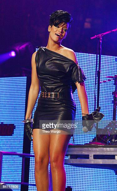 Singer Rihanna performs on stage during Z100's Jingle Ball 2008 Presented by HM at Madison Square Garden on December 12 2008 in New York City