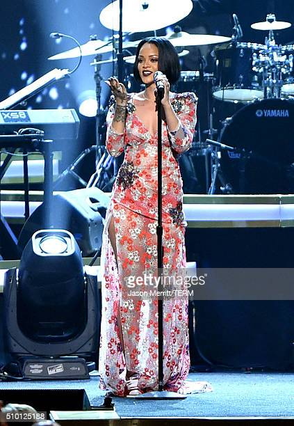 Singer Rihanna performs onstage at the 2016 MusiCares Person of the Year honoring Lionel Richie at the Los Angeles Convention Center on February 13...