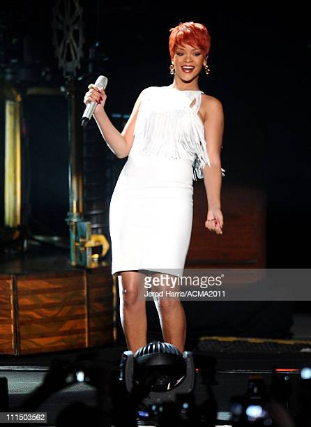 Singer Rihanna performs onstage at the 46th Annual Academy of Country Music Awards ACM Fan Jam with Sugarland at the Mandalay Bay Resort & Casino on...