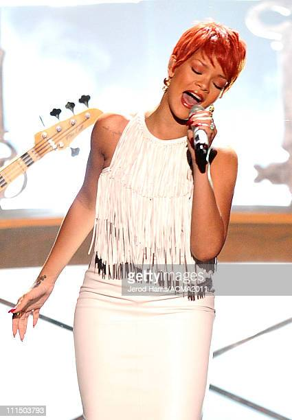 Singer Rihanna performs onstage at the 46th Annual Academy of Country Music Awards ACM Fan Jam with Sugarland at the Mandalay Bay Resort Casino on...