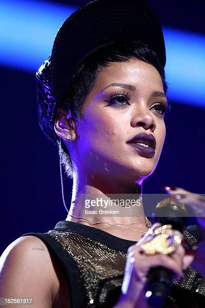 Singer Rihanna performs onstage during the 2012 iHeartRadio Music Festival at the MGM Grand Garden Arena on September 21 2012 in Las Vegas Nevada
