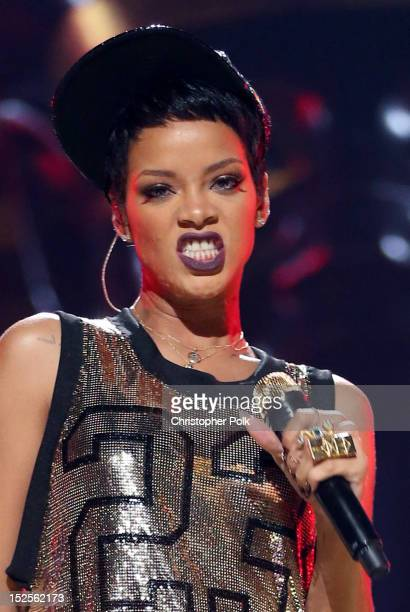 Singer Rihanna performs onstage during the 2012 iHeartRadio Music Festival at the MGM Grand Garden Arena on September 21, 2012 in Las Vegas, Nevada.