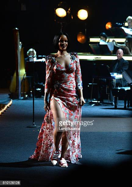 Singer Rihanna performs onstage during the 2016 MusiCares Person of the Year honoring Lionel Richie at the Los Angeles Convention Center on February...