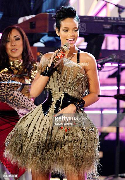 Singer Rihanna performs onstage during the 50th annual Grammy awards held at the Staples Center on February 10 2008 in Los Angeles California