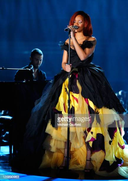 Singer Rihanna performs onstage during The 53rd Annual GRAMMY Awards held at Staples Center on February 13 2011 in Los Angeles California