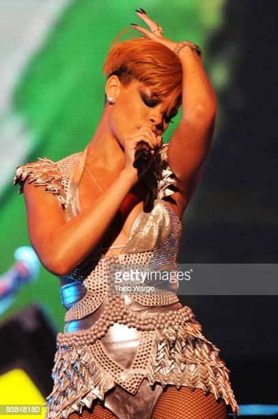 Singer Rihanna performs onstage in concert presented by MySpace and JetBlue at Hammerstein Ballroom on December 3 2009 in New York New York