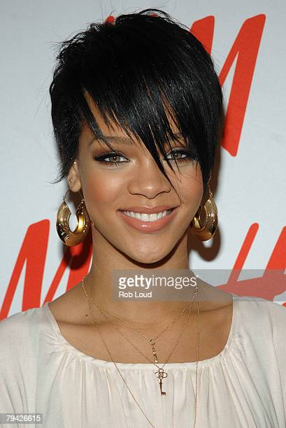 Singer Rihanna poses at HM for the launch of Fashion Against AIDS Collection on January 31 2008 in New York City