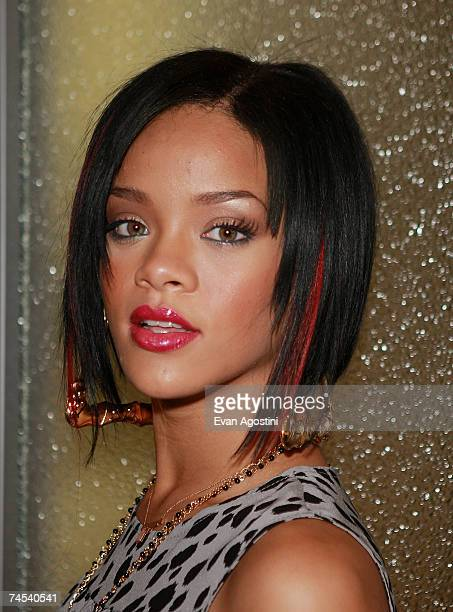 Singer Rihanna poses backstage after an appearance on MTV's Total Request Live, June 11, 2007 in New York City.