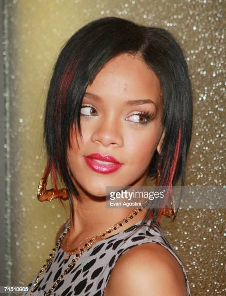 Singer Rihanna poses backstage after an appearance on MTV's Total Request Live June 11 2007 in New York City