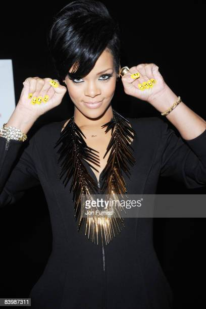 LONDON DECEMBER 10 Singer Rihanna poses backstage at Capital FM's Jingle Bell Ball held at the 02 Arena Docklands on December 10 2008 in London...