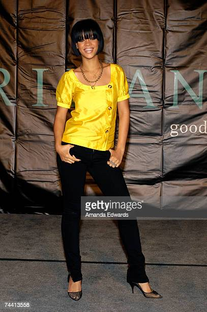 Singer Rihanna poses before signing copies of her new album 'Good Girl Gone Bad' at the Hard Rock Cafe on June 5 2007 in Universal City California