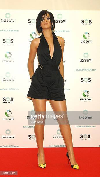 Singer Rihanna poses during press call at the Tokyo leg of the Live Earth series of concerts, at Makuhari Messe, Chiba on July 7, 2007 in Tokyo,...