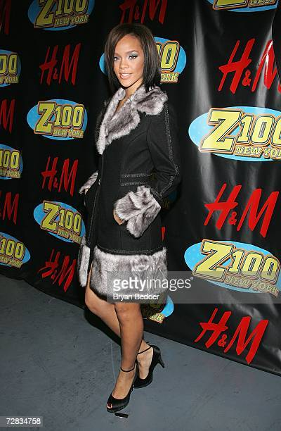Singer Rihanna poses in the press room at Z100's Jingle Ball 2006 at Madison Square Garden December 15 2006 in New York City