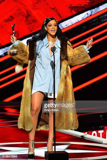 Singer Rihanna receives the Rock Star award during the Black Girls Rock 2016 show at New Jersey Performing Arts Center on April 1 2016 in Newark New...