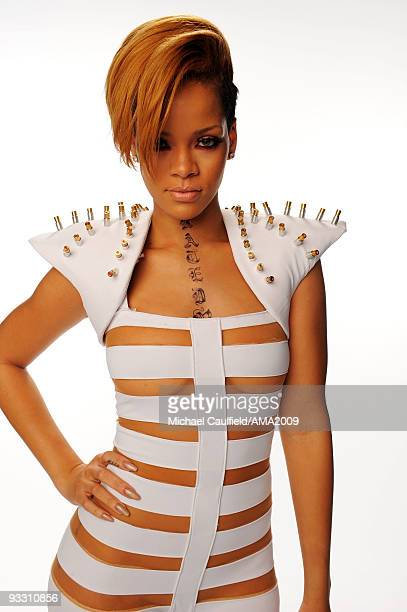 Singer Rihanna Rihannaposes for a portrait at the 2009 American Music Awards at Nokia Theatre LA Live on November 22 2009 in Los Angeles California