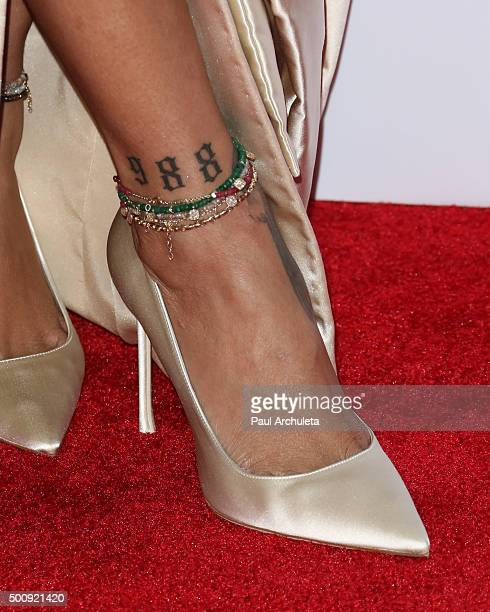Singer Rihanna Shoe Detail / Jewelry Detail attends the 2nd Annual Diamond Ball at The Barker Hanger on December 10 2015 in Santa Monica California