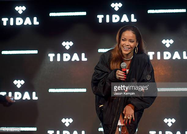 Singer Rihanna surprises fans during the TIDAL X RIHANNA BBHMM event on July 1 2015 in Los Angeles California