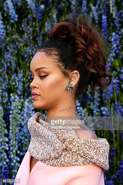 Singer Rihanna tattoo detail attends the Christian Dior show as part of the Paris Fashion Week Womenswear Spring/Summer 2016 Held at Cour Carre du...