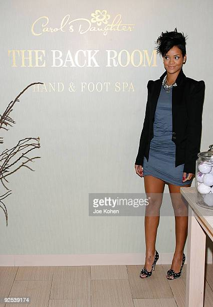 Singer Rihanna visits the hand and foot spa at Carol's Daughter on June 16 2009 in New York City
