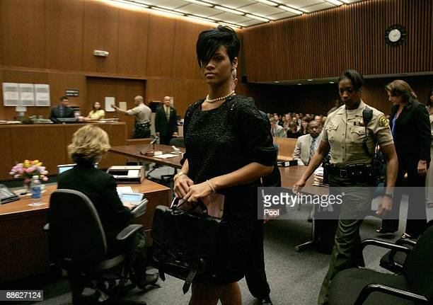 Singer Rihanna walk out of a preliminary hearing at Superior Court of Los Angeles County on June 23 2009 in Los Angeles California The preliminary...