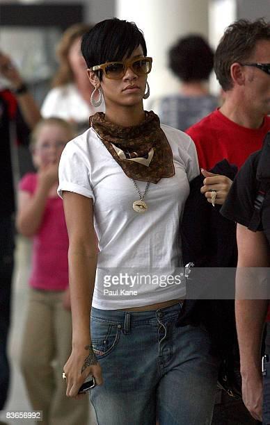 Singer Rihanna walks through Perth International Airport as she prepares to leave Perth on November 12 2008 in Perth Australia