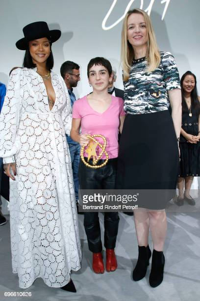 Singer Rihanna Winner of the Young Fashion Designer LVMH Prize 2017 Stylist Marine Serre and President of the Jury of the Prize Louis Vuitton's...
