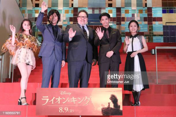 Singer RIRI, Yosuke Eguchi, director Jon Favreau, Kento Kaku, and Yoko Kadoyama attend 'The Lion King' Japan premiere at Toshima Arts and Culture...