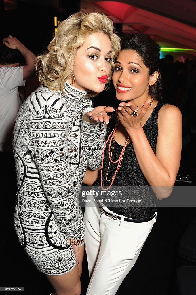 Singer Rita Ora (L) and actress Freida Pinto attend the after show party following the 'Chime For Change: The Sound Of Change Live' Concert at Twickenham Stadium on June 1, 2013 in London, England. Chime For Change is a global campaign for girls' and women's empowerment founded by Gucci with a founding committee comprised of Gucci Creative Director Frida Giannini, Salma Hayek Pinault and Beyonce Knowles-Carter.