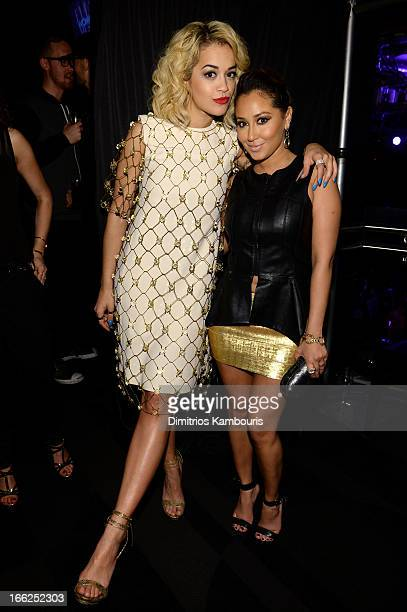 Singer Rita Ora and Adrienne Bailon attend the 4th Annual ELLE Women in Music Celebration at The Edison Ballroom on April 10 2013 in New York City