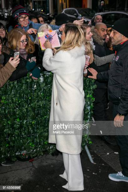 Singer Rita Ora arrives at 'C a Vous' TV show on February 5 2018 in Paris France