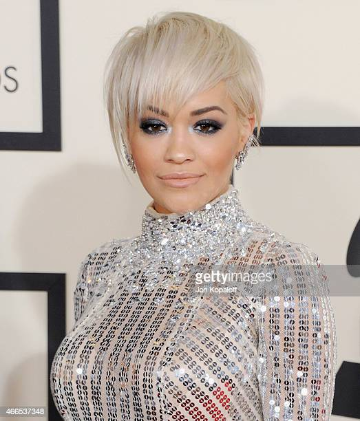 Singer Rita Ora arrives at the 57th GRAMMY Awards at Staples Center on February 8, 2015 in Los Angeles, California.