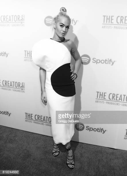 Singer Rita Ora arrives at The Creators Party Presented by Spotify Cicada Los Angeles at Cicada on February 13 2016 in Los Angeles California