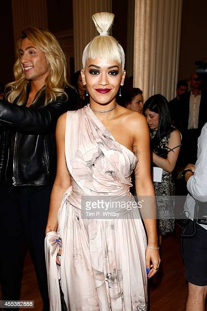 Singer Rita Ora arrives at the Marchesa Spring/Summer 2015 Fashion Show cohosted by FIJI Water at Banqueting House on September 13 2014 in London...