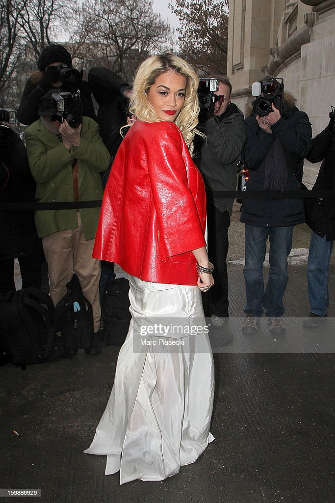 Singer Rita Ora arrives to attend the Chanel Spring/Summer 2013 Haute-Couture show as part of Paris Fashion Week at Grand Palais on January 22, 2013 in Paris, France.