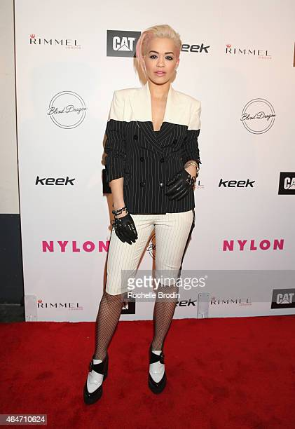 Singer Rita Ora attends NYLON Magazine's Spring Fashion Issue Celebration hosted by Rita Ora at Blind Dragon on February 27, 2015 in West Hollywood,...