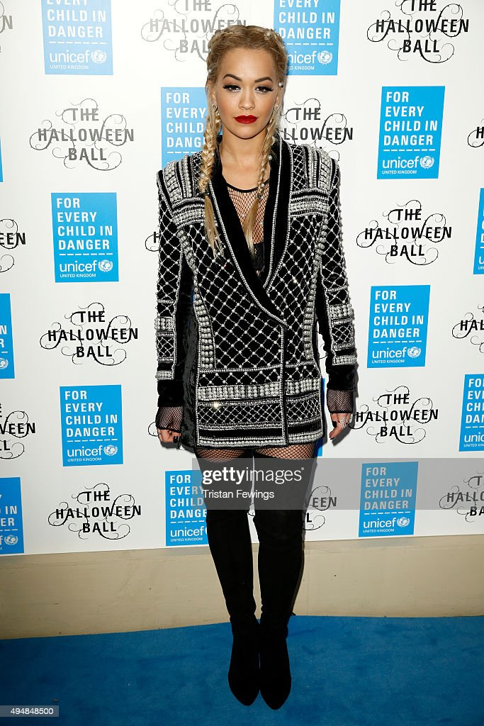 Singer Rita Ora attends the UNICEF Halloween Ball at One Mayfair on October 29, 2015 in London, England.