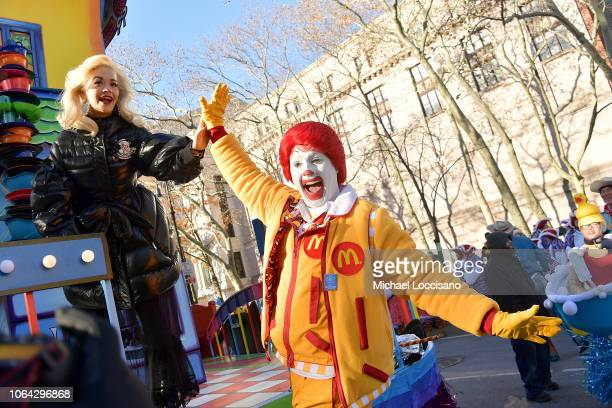 Singer Rita Ora high fives with Ronald McDonald during the the 2018 Macy's Thanksgiving Day Parade on November 22 2018 in New York City