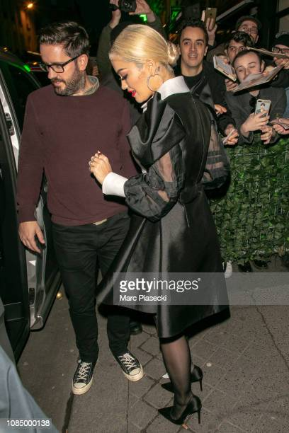 Singer Rita Ora is seen leaving the 'C a Vous' TV show on December 20, 2018 in Paris, France.